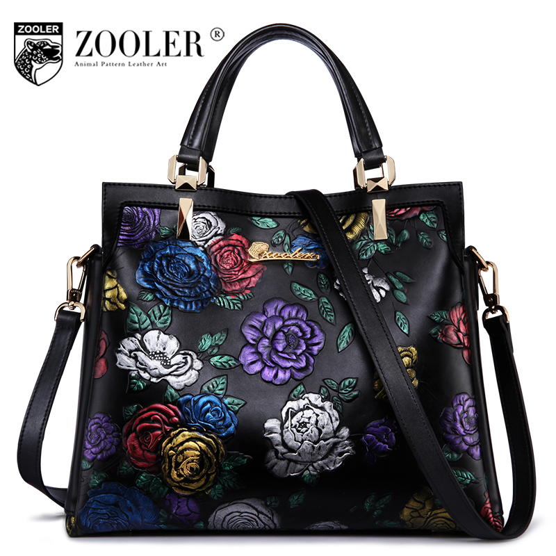ZOOLER Luxury Handbags Women Bags Designer Fashion Floral Genuine Leather Handbag Female Black Messenger Shoulder Bag Sac A Main lafestin luxury shoulder women handbag genuine leather bag 2017 fashion designer totes bags brands women bag bolsa female