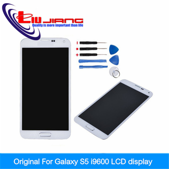 Original LCD For Samsung Galaxy S5 i9600 G900F G900 G900A G900H G900M LCD Display Touch Screen Digitizer With Home Button White