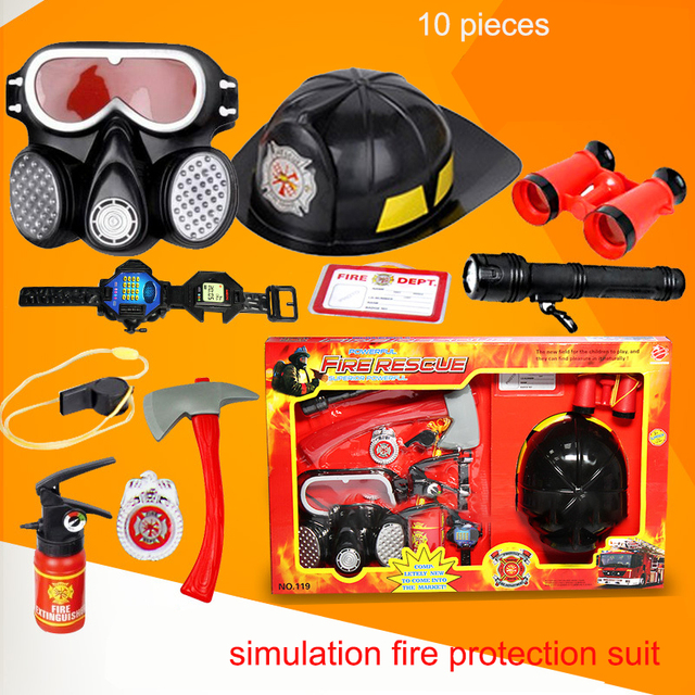 10pcs set kids play firefighter toy tool learning toy fireman helmet