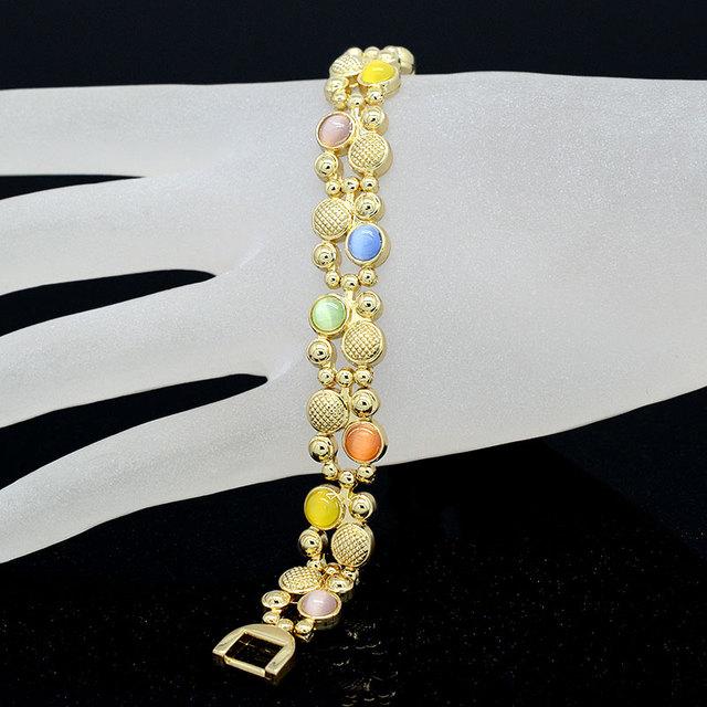 Colorful Cat Eye Stones Magnet Bracelet