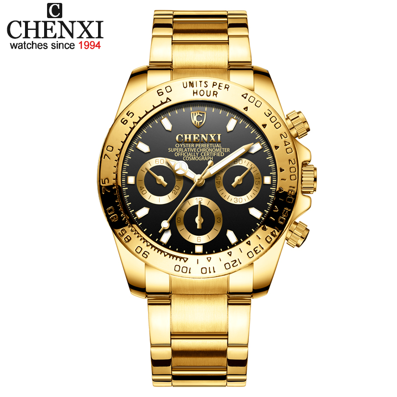 CHENXI Men Golden Luxury Watches Brand 2018 New Fashion Simple Analog Quartz Wrist Watches Stainless Steel Band Watch Relogio golden silver transparent hollow dial quartz men wrist watch stainless steel band casual sport watches man analog male clock gif