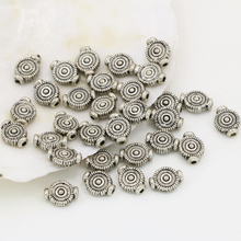 Free shipping spacers beads accessories 8*10mm round coin rondelle shape silver plated antique 50pcs hot sale diy jewelry B2536
