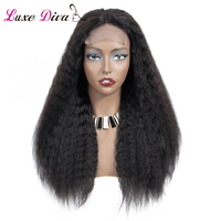 LUXE DIVA Kinky Straight Wig Peruvian Human Hair Wigs NonRemy Hair 4*4 Lace Front Wig With Baby Hair 130% Density Natural Color