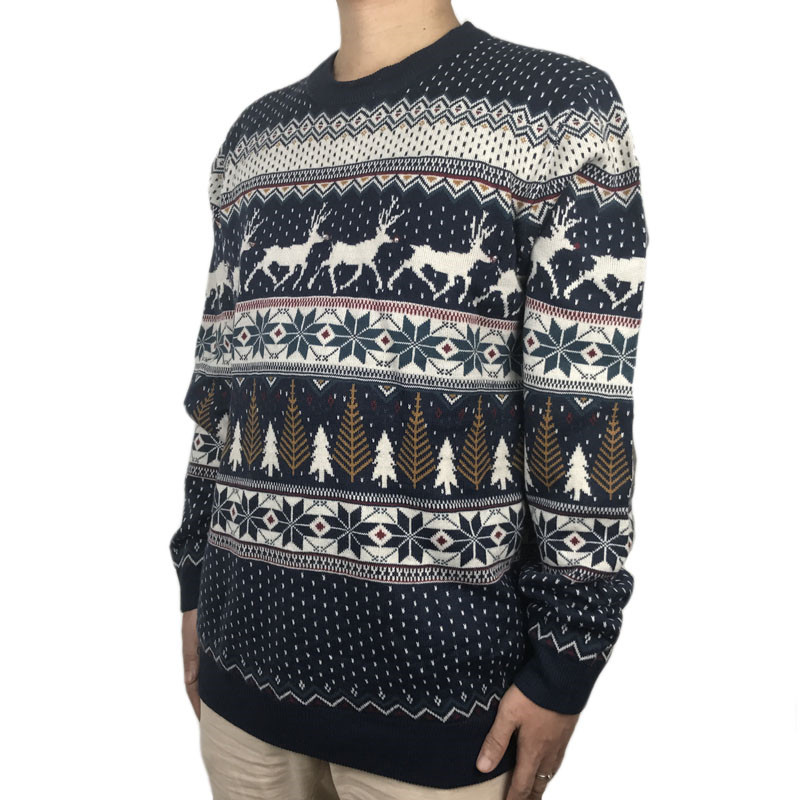 Funny Light Up Ugly Christmas Sweater for Men and Women Navy Blue Male Xmas Pullover Jumper Reindeer Patterned Plus Size S-4XL 4