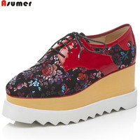 ASUMER Fashion Spring Autumn Pumps Shoes Square Toe Casual Platform Wedges Flowers Kid Suede Cow Patent