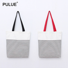 New Fashion Striped One shoulder Bag Women Casual Totes Cell Phone Bags Travel Shopping Foldable Ladies Handbag Canvas Pouch