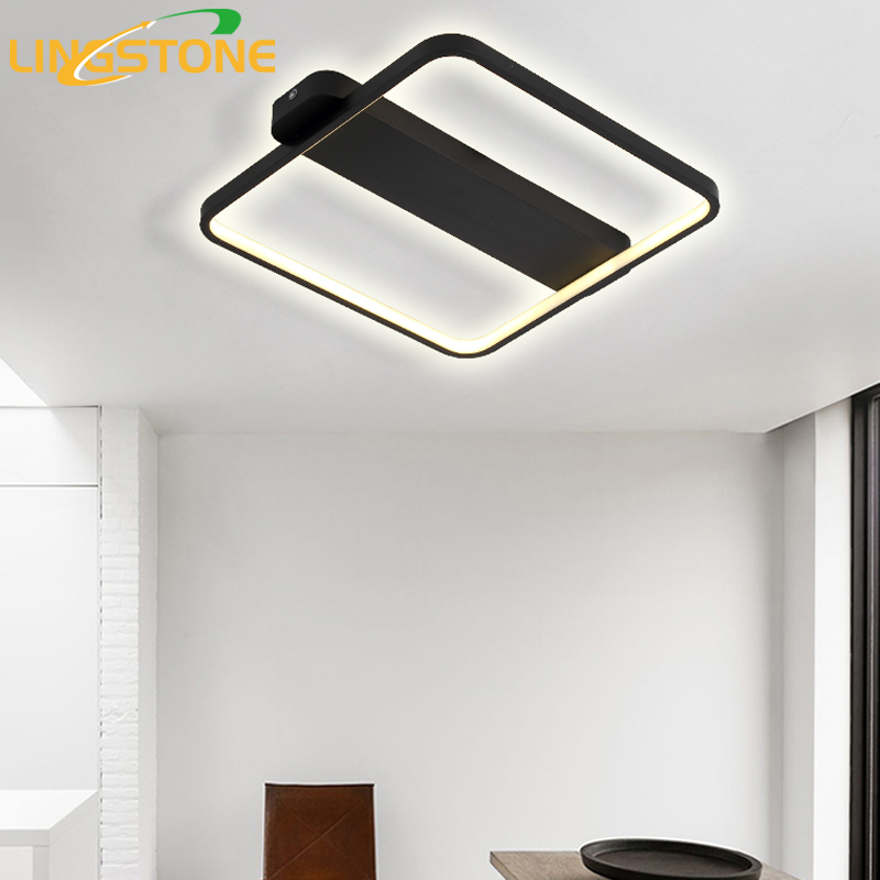 LED Ceiling Lamp Modern Plafonnier Light Black White Square Lighting Luminaire Living Room Bedroom Kitchen Lamparas De Techo vemma acrylic minimalist modern led ceiling lamps kitchen bathroom bedroom balcony corridor lamp lighting study