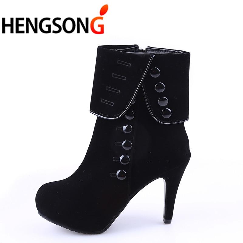 Модные женские ботильоны на высоком каблуке; модная красная обувь; женские ботинки из флока на платформе с пряжкой; женская обувь