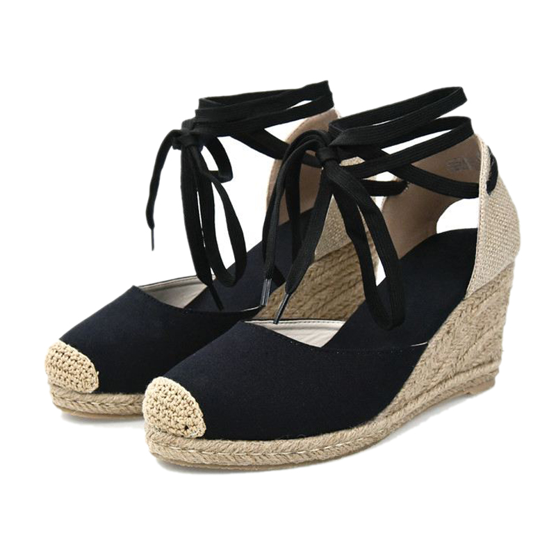 Women Ankle Strap Espadrilles Wedge Sandals 2018 Summer Canvas High Heel Fashion Lace up Women Platform Wedge Sandals Large Size (16) -