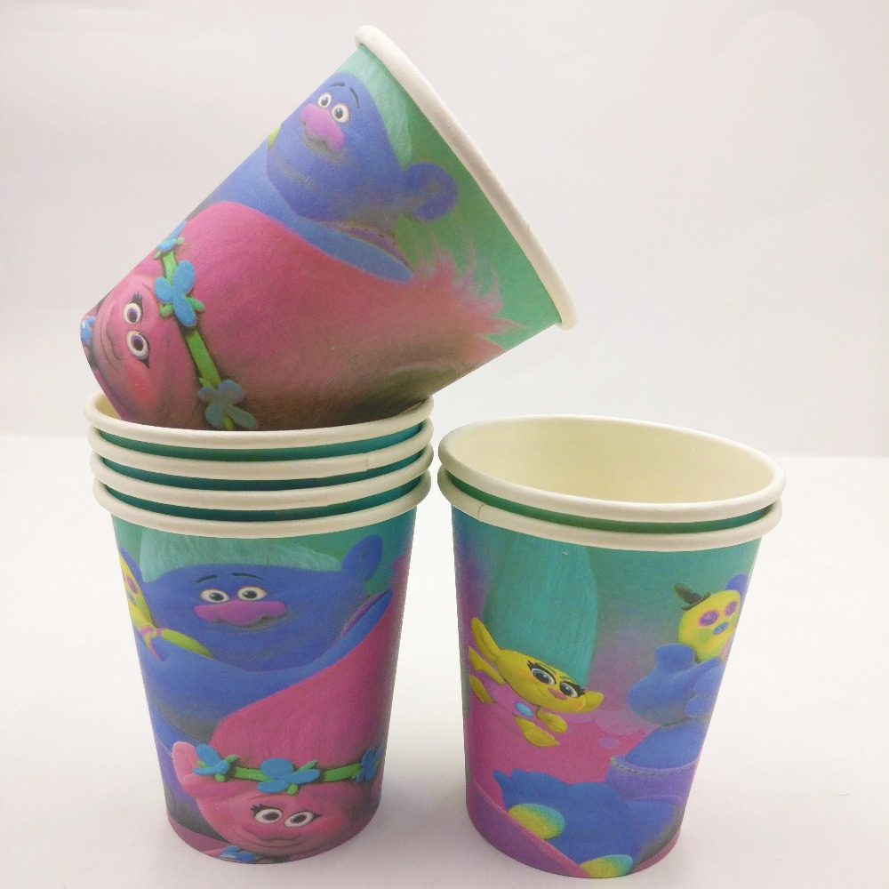 10pcs trolls movie christmas decorations party plastic cups trolls kids party birthday supplies ideas disposable tableware mugs in disposable party