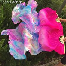 New Arrival 100 czysty prawdziwy wachlarz jedwabny welony do tańca brzucha seksowny długi na jedwabnym sznurku wachlarz jedwabny s dla tancerzy 1 8*0 9m tie-dyed kolor para tanie tanio Taniec brzucha Y402 Akrylowe Poliester COTTON spandex WOMEN Dancer s Vitality black red leopars zebra S M L XL XXL can be free to make