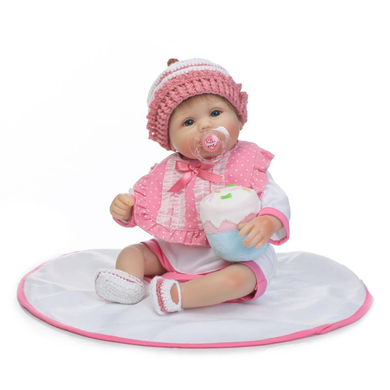 17 Silicone Reborn Girls Dolls Handmade Rooeted Hair Baby Doll Cute Toddler Baby Dolls Toys with Pink Clothes for Children Gift short curl hair lifelike reborn toddler dolls with 20inch baby doll clothes hot welcome lifelike baby dolls for children as gift