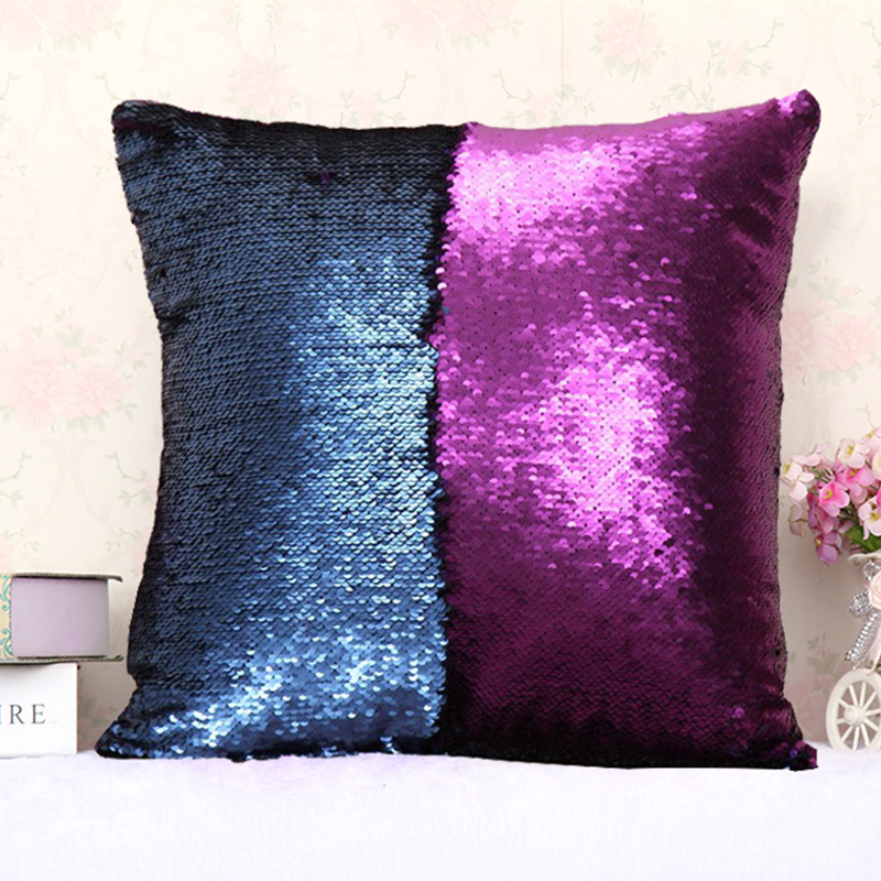 JaneYU Mermaid Double Color Sequins Pillow Cover Explosion Two Color Sequins Pillowcase in Pillow Case from Home Garden