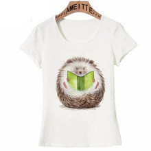 2019 New Summer Women t-shirt Super Cute Hedgehog reading Print T-Shirt Funny Cartoon Design Girl White Casual Tops Woman Tees(China)