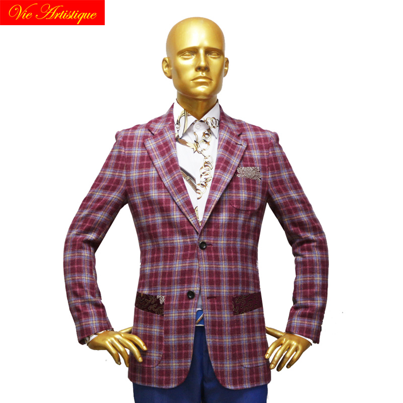 Custom Tailor Made Men's Bespoke Suits Business Formal Wedding Ware 1 Pieces Jacket Coat Pant Wine Plaid Fine Heavy Tweed Wool