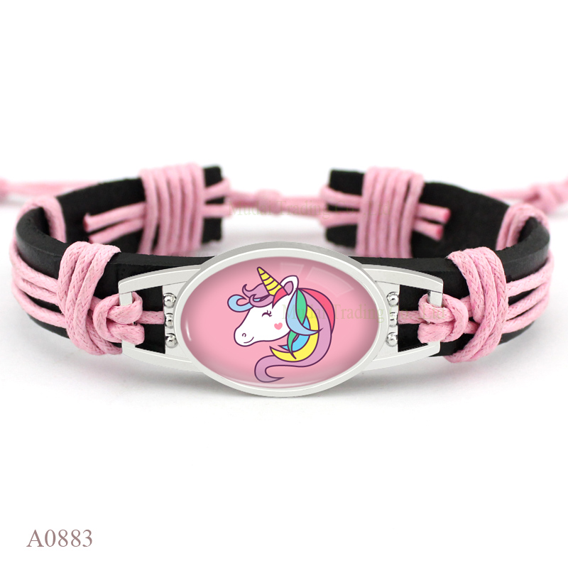 Unicorn Flamingo Animal Charm Leather Bracelets Women Men Girl Jewelry Gift Christmas Gift Drop Shipping Many Styles to Choose in Charm Bracelets from Jewelry Accessories