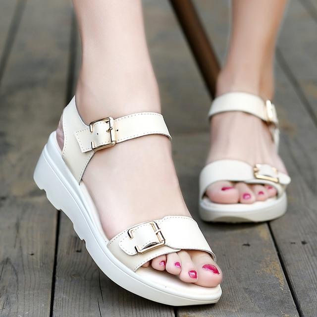 MudiPanda  women sandals PU Leather flat Sandals Low Wedges Summer Shoes women Open Toe Platform Sandals women casual shoes