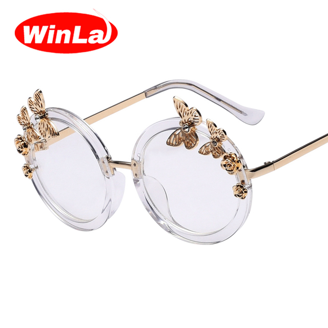 61ceb669d61 Winla Luxury Brand Designer Round Glasses for Women Transparent Lens  Butterfly Rose Accessories Metal Legs Female