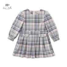 DK0487 дэйв белла осень новорожденных девочек плед платье девушки сетки линия платье