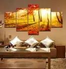 Животного Рамку 5 Панели закат в лесу печати масляной живописи Книги по искусству изображение дома Гостиная Настенный декор холст Книги по ...
