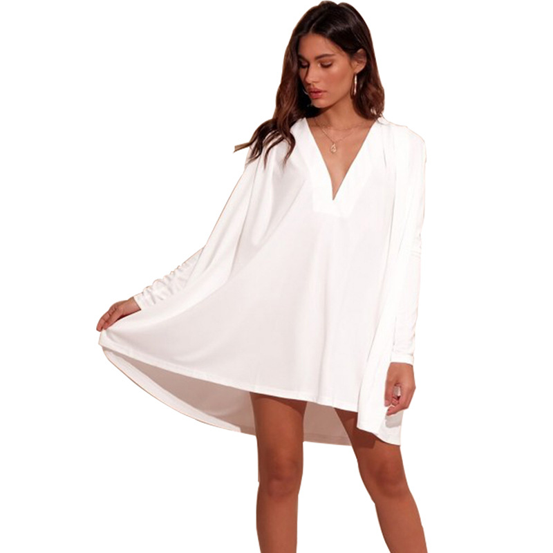 Europe and the United States new hot fashion personality sexy deep V neck long sleeved loose slim high waist female dress in Dresses from Women 39 s Clothing