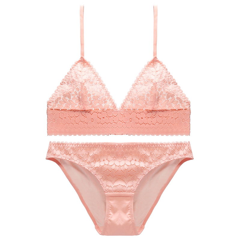 1c7c22838e Sexy Pink Lace Bralette Bra and panty Set Lingerie Unlined Elastic Trim  Wire free Lace Underwear women Intimates orange 5 colors-in Bra   Brief Sets  from ...