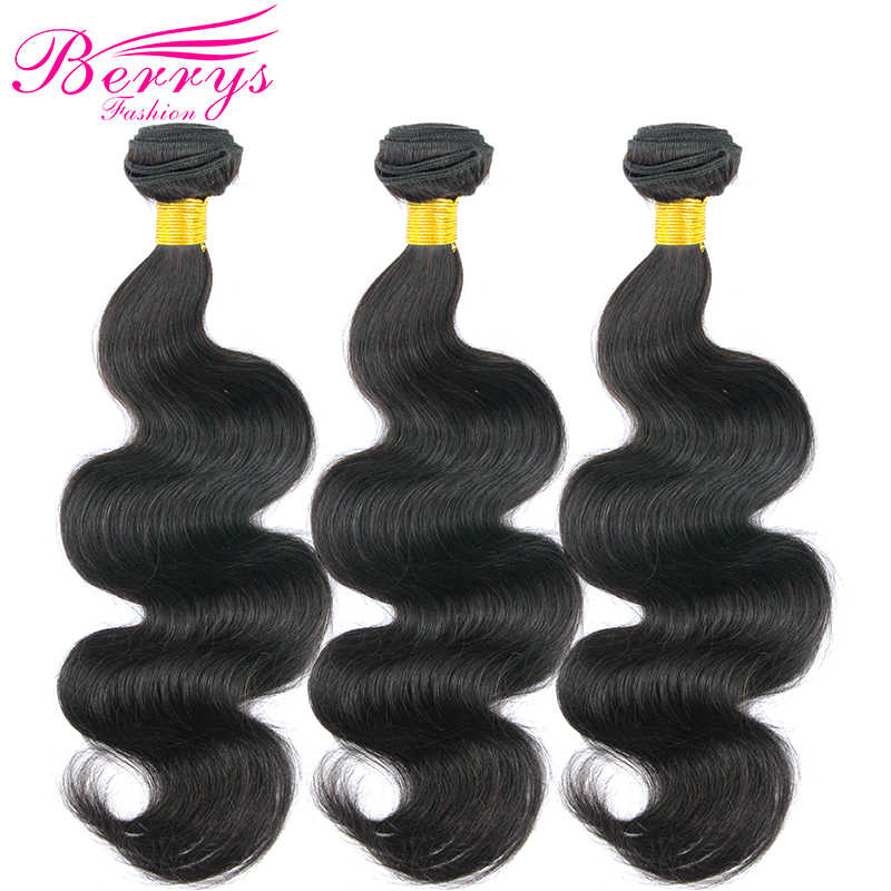 Berrys Fashion Peruvian Body Wave Remy Human Hair 3 Bundles Per Lot 10 to 28 Inch Hair Weave Extensions Double Machine Weft