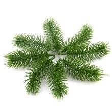 Искусственные пластиковые зеленые ветки сосны, 10 шт., украшения для свадьбы, домашвечерние НКИ, «сделай сам», рождественские аксессуары для рукоделия