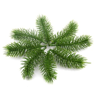 Image 1 - 10pcs Artificial Plastic Green Pine Plants Branches Wedding Home Party Decorations DIY ChristmasTree Handcraft Accessories