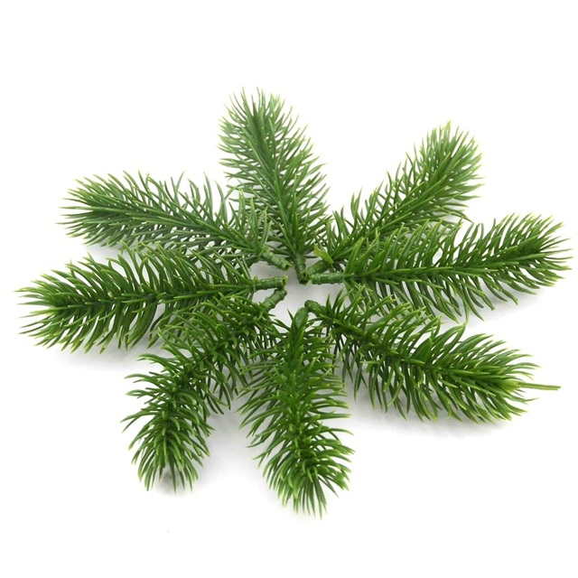 10pcs Artificial Plastic Green Pine Plants Branches Wedding Home Party Decorations DIY ChristmasTree Handcraft Accessories