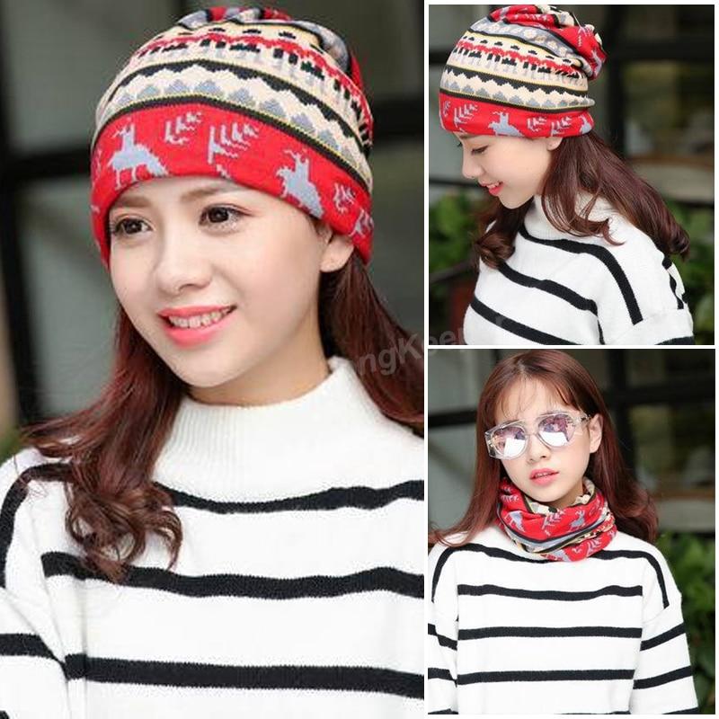 Long Keeper New Fashion Beauty Knit Hip-Hop Girls Cap Lady Grace Winter Warm Hat Scarf 3 Used Women Beanie Skullies Bonnet