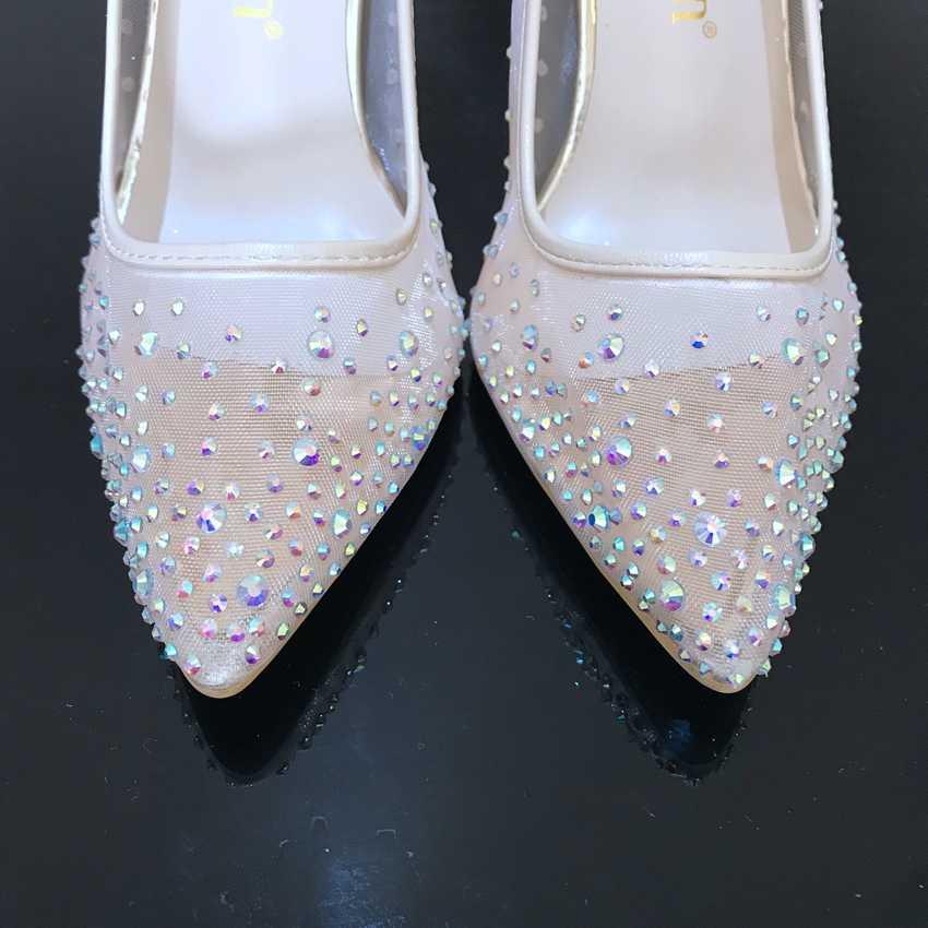 Обувь с украшением в виде кристаллов; женские свадебные туфли на высоком тонком каблуке; женская обувь на высоком каблуке; летние женские туфли; вечерние туфли-лодочки на платформе; женские Стразы