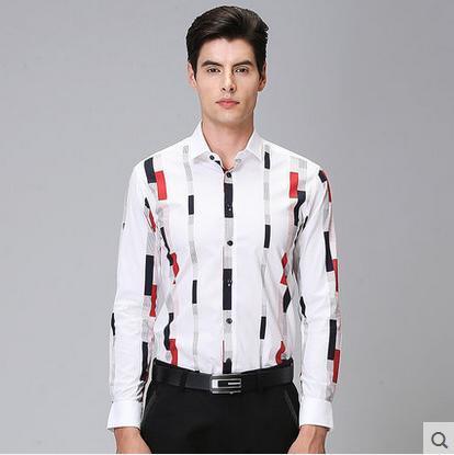 Envío libre 2017 de la nueva llegada camisa de los hombres de moda de manga larga otoño holiday corea camisa de vestido delgada ocasional