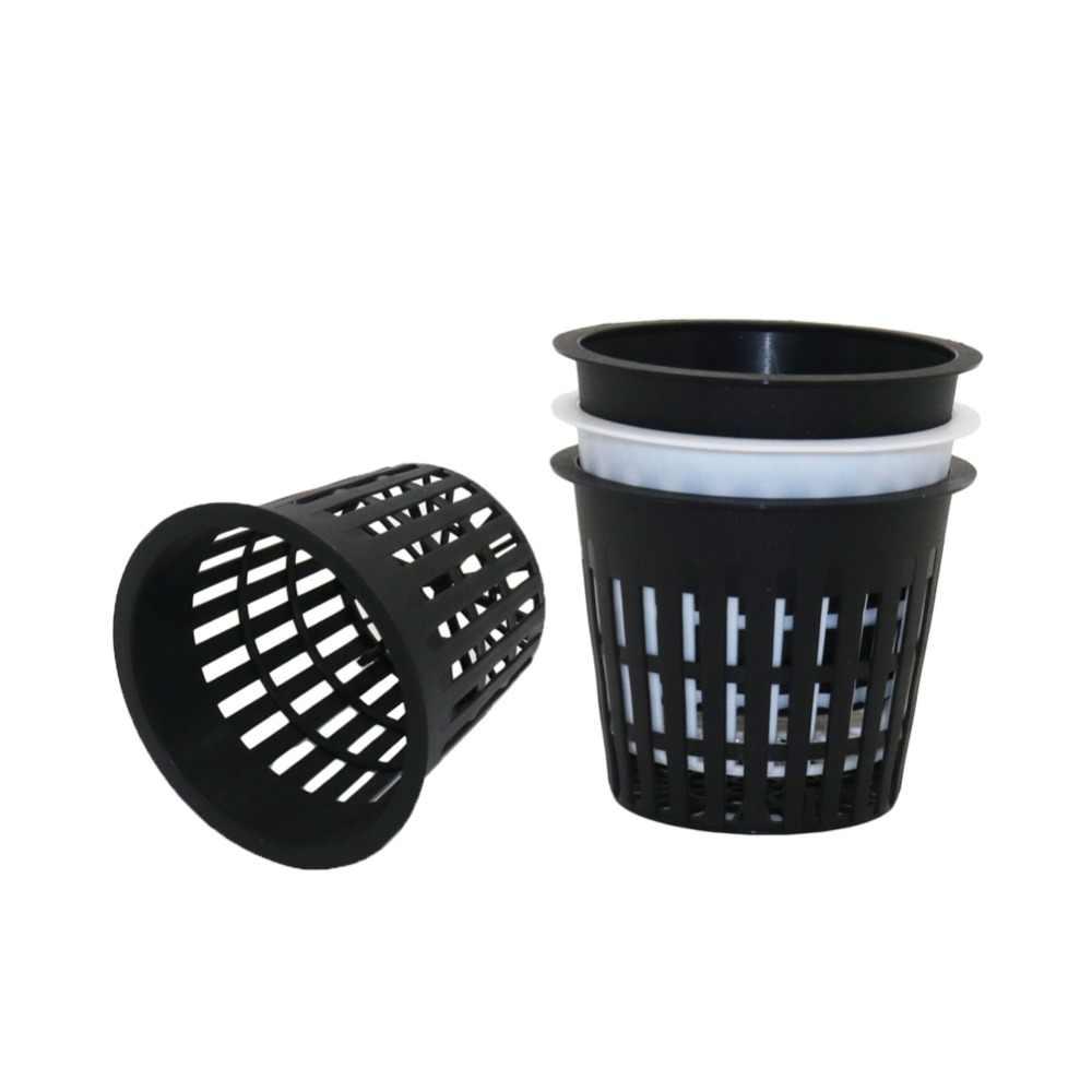 พลาสติก PP เนอสเซอรี่ถ้วยสุทธิ Hydroponic ตาข่ายหม้อระเบียงระเบียง Aeroponic พืชผัก Soilless การเพาะปลูกตะกร้า 10 Pcs