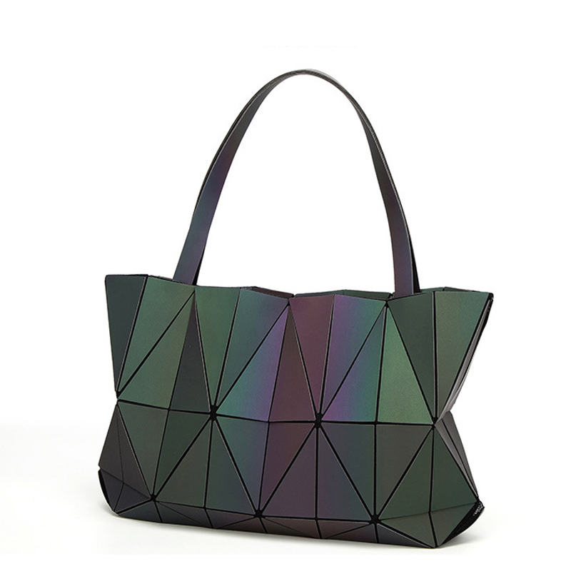 2018 New Bao Bags Women Handbag Geometry Totes Sequins Mirror Saser Plain Folding Shoulder Bags Luminous Bag Bao Hologram bolsa bao bao clutch women baobao bag geometry sequins plain bags handbag famou brands design wallet in women wallets ladies bags