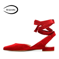WEIQIAONA 2018 New Women S Shoes Fashion Casual Ladies Flats Suede Pointed Toe Rome Shallow Female