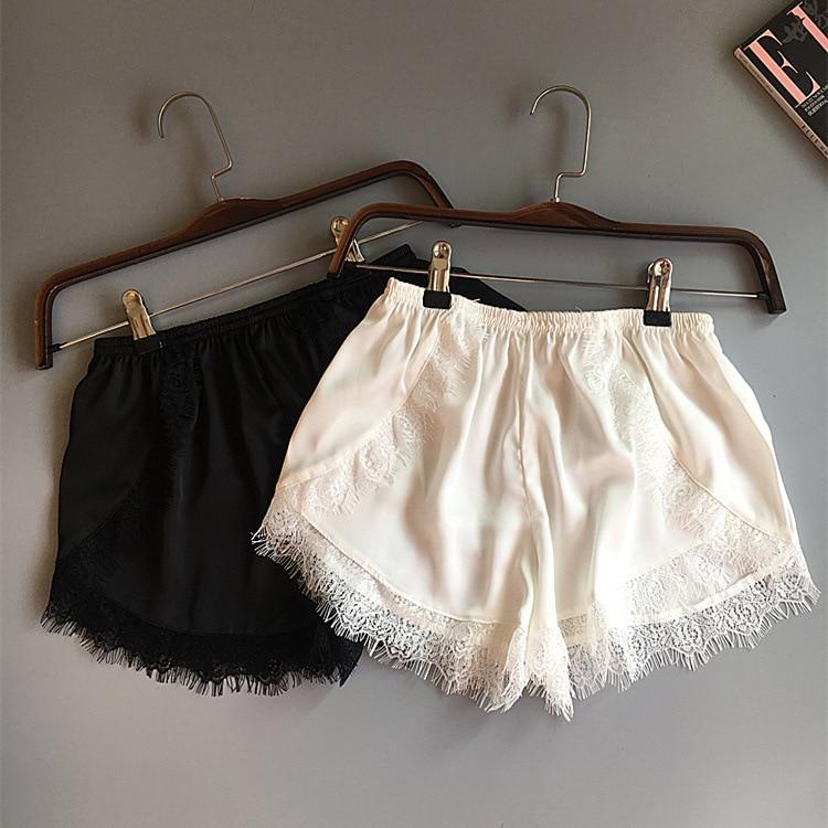 Plus Size Womens Sleep Bottoms Elastic Waist White Black Lace Shorts Casual Panties For Women Costume Sexy Silk Summer Nightwear