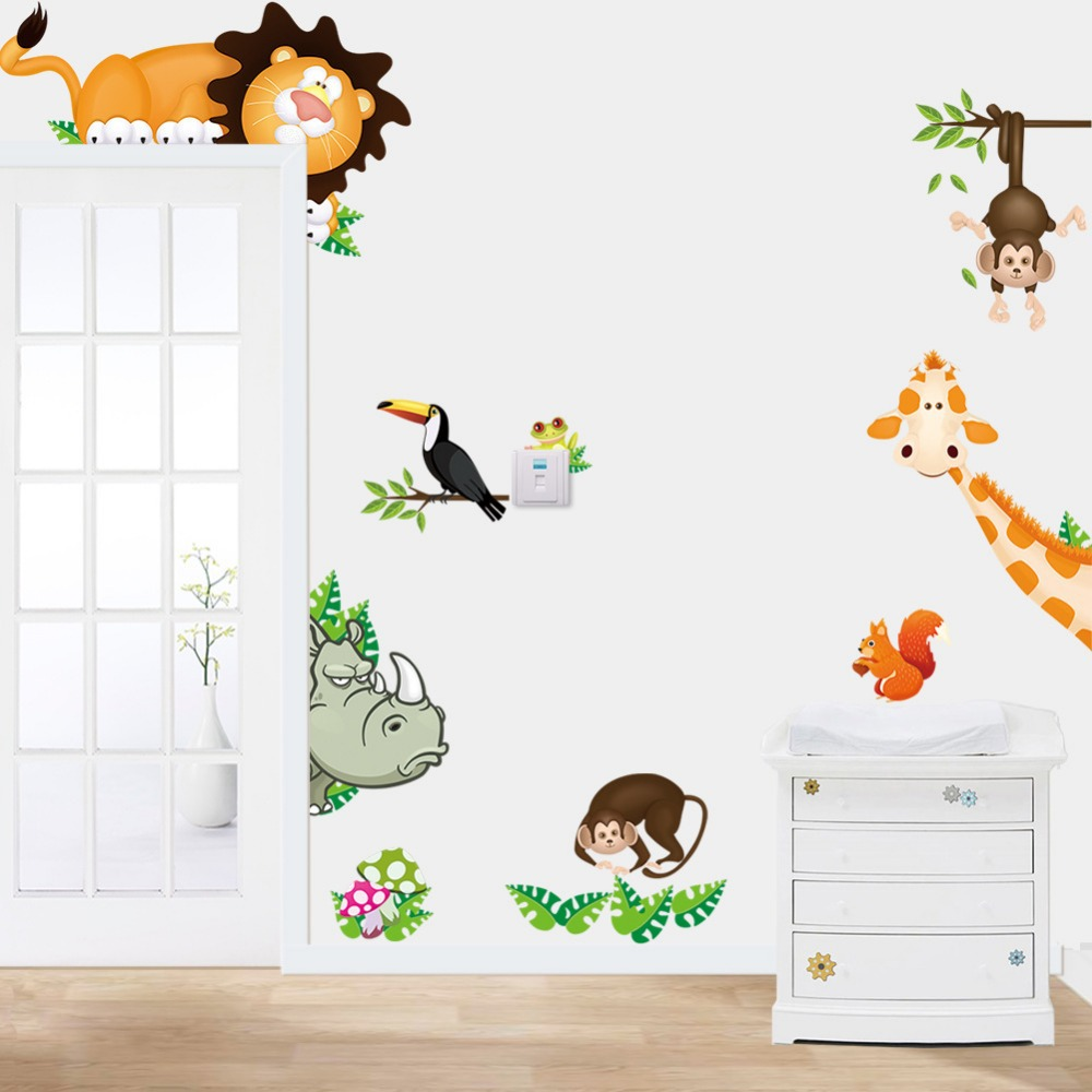 Tropical jungle animals wall stickers decal kids monkey for Wallpaper decals