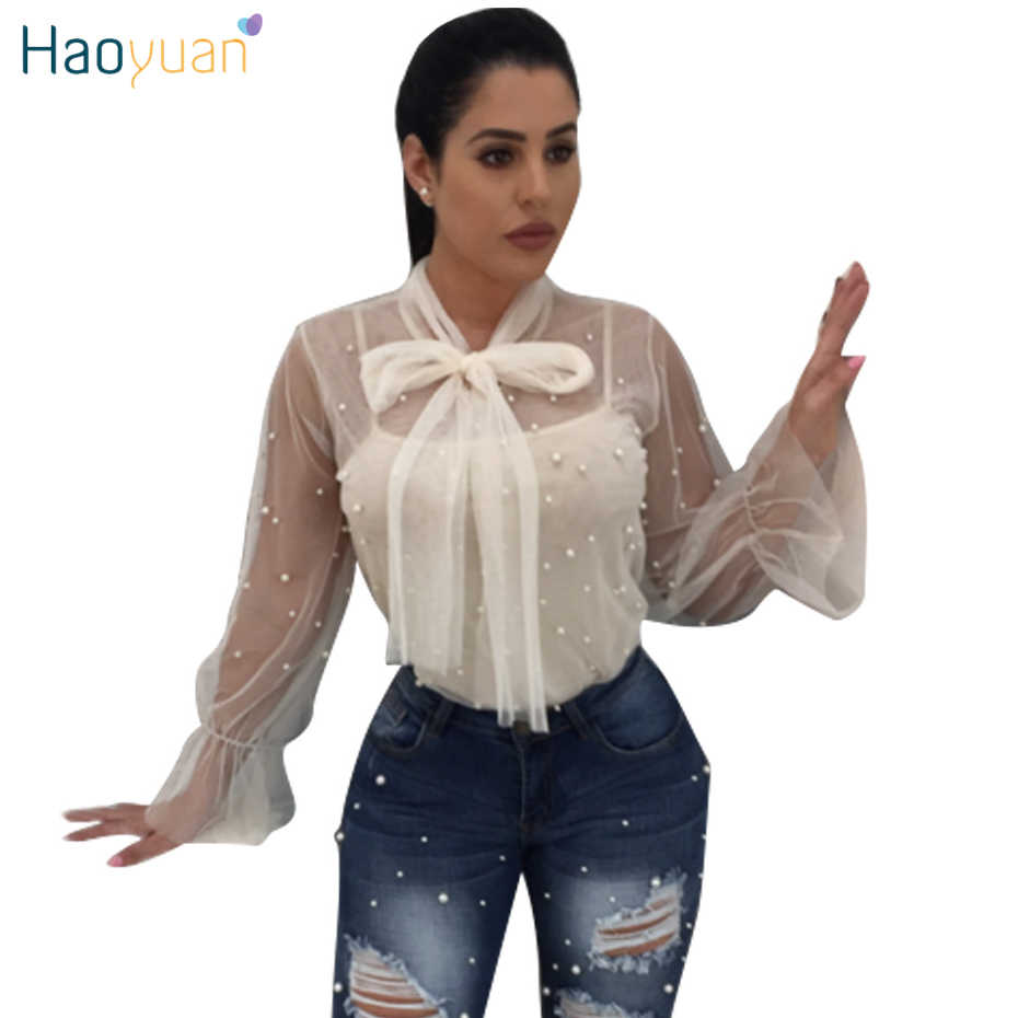 c9c138609eb3a ... HAOYUAN Sexy See Through Womens Tops And Blouses Long Sleeve Black  White Sheer Blusas Casual Mesh ...
