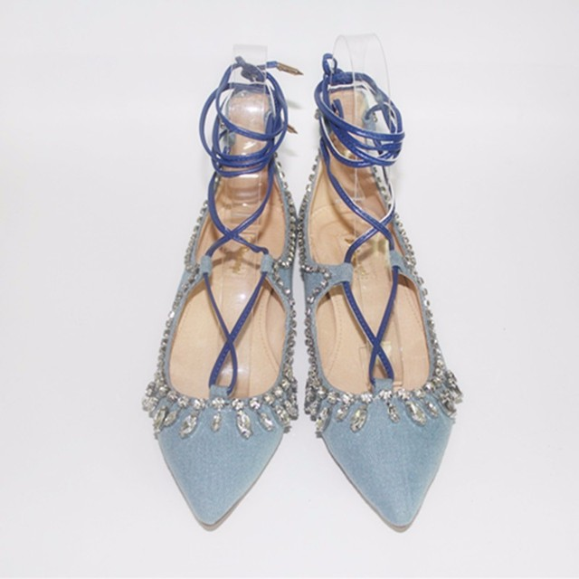 3d776572eea Light Blue Pointed Toe 2017 Crystal Decoration Cross Tied Low Square Heel  Ankle Strap Women Pumps Comfortable Shoes For Spring