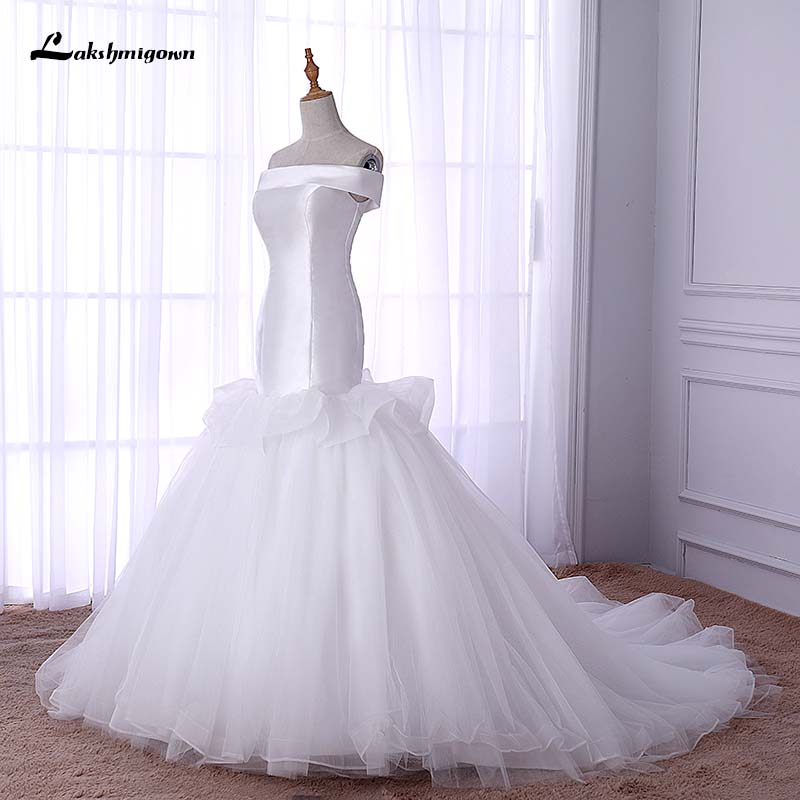 Simple Wedding Dresses Boat Neck: Cheap White Boat Neck Mermaid Wedding Dress Off Shoulder