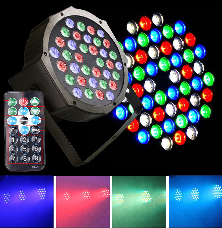 18pcs/LOT 36*3W RGB LED Par Light With DMX512 Master Slave Flat Slim DJ Equipments for Party Disco Stage Light Remote Control
