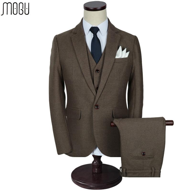 MOGU Trois Pièce Solide Hommes de Costumes 2017 de Haute Qualité Nouvelle Mode pur Couleur Slim Fit Laine Costumes Hommes Asiatique Taille de 5XL Hommes Costume