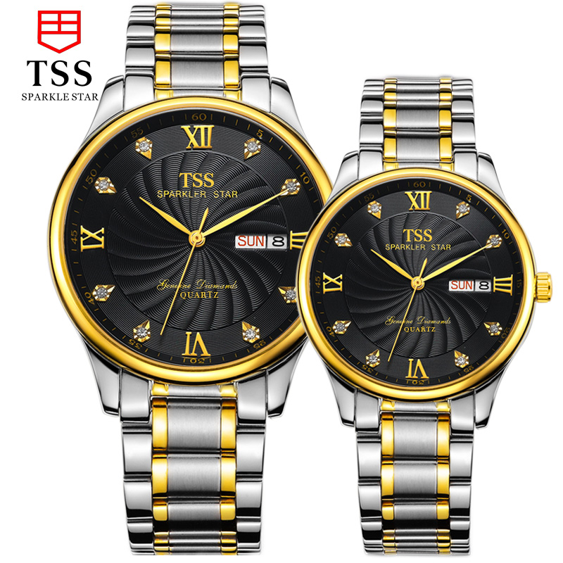 TSS master collection diamond couple pair stainless steel band couple male watch quartz watch fashion fashion couple watches