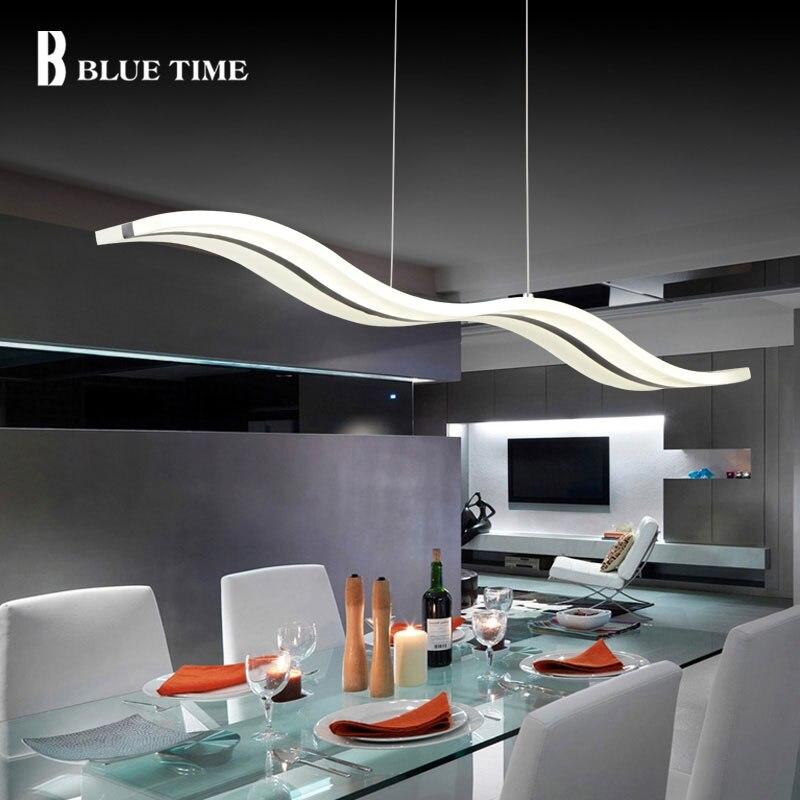 Lumières pendantes modernes de temps bleu pour la salle à manger lampe de pendentif LED acrylique blanche conception contemporaine de vague L100CM H150CM