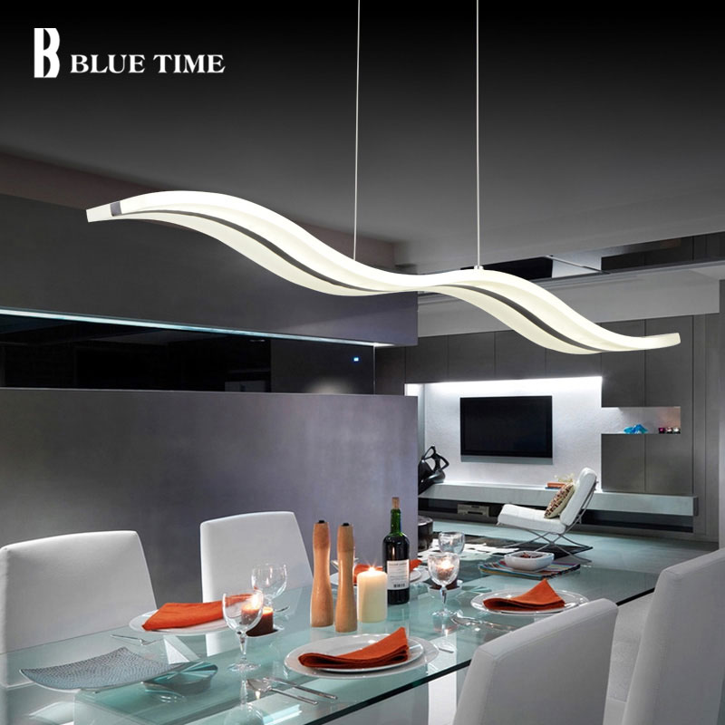 Azul tiempo moderno colgante luces para comedor de acrílico blanco LED lámpara colgante ola contemporánea diseño L100CM H150CM