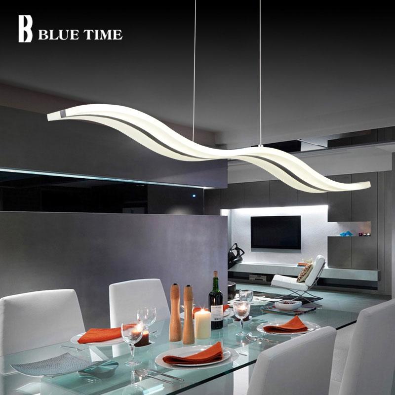BLUE TIME Modern Pendant Lights for Dining Room White Acrylic LED Pendant Lamp Contemporary Wave Design L100CM H150CM