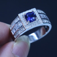 Real Male Jewelry Soild 925 Sterling Silver Female Ring 1ct Sapphire Simulated Diamond AAA Cz Party