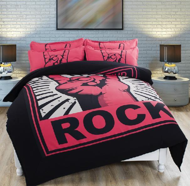 Double couette ensembles pour adultes Noir et Rouge Rock housse de ...