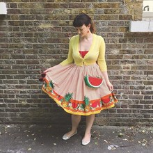 2a6b80ac386 30- summer women vintage 50s floral fruit skirt in red plus size rockabilly  pinup faldas